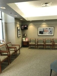 Waiting room inside State of the Art Dental Group in Montgomery County Maryland.